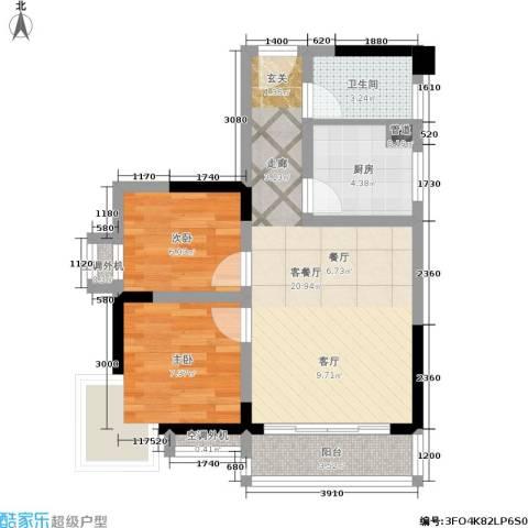 大川国际2室1厅1卫1厨57.00㎡户型图