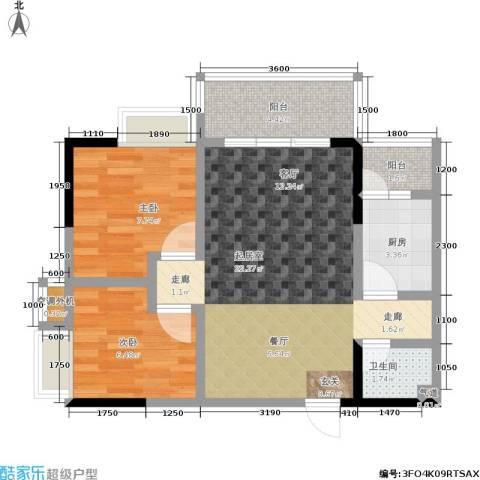 上方新人居2室0厅1卫1厨53.00㎡户型图