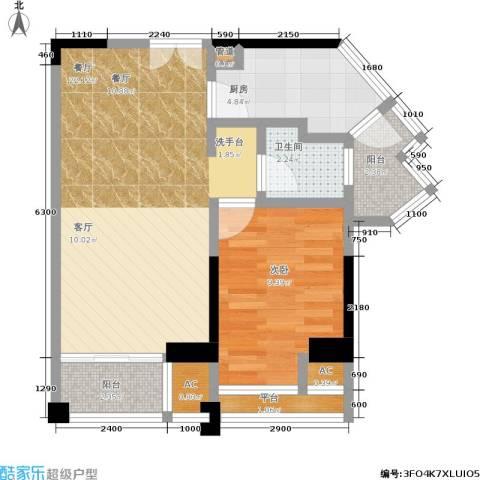信和上筑1室1厅1卫1厨67.00㎡户型图