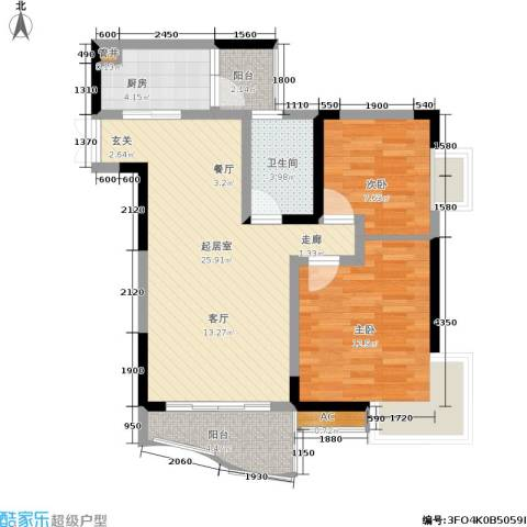 云岭天城2室0厅1卫1厨68.00㎡户型图