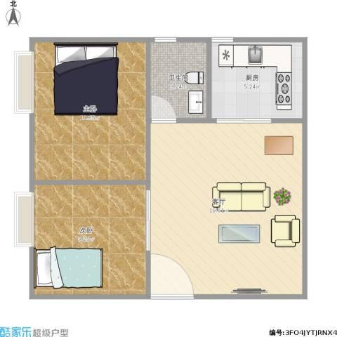 天玺国际2室1厅1卫1厨66.00㎡户型图