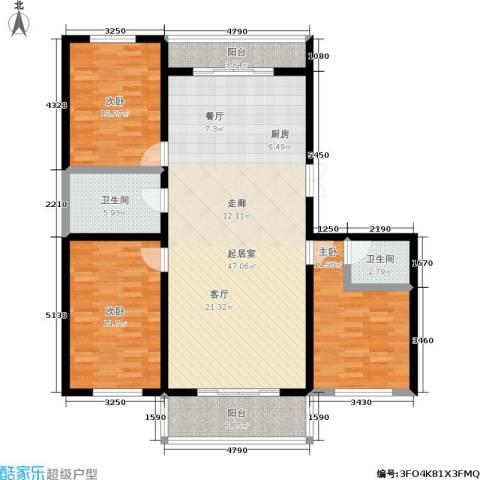 丽景花园3室0厅2卫0厨120.00㎡户型图