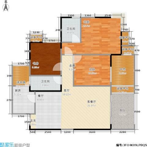 万象时代3室1厅2卫1厨108.16㎡户型图