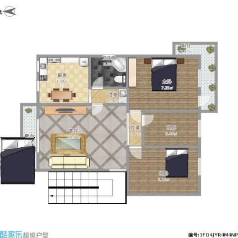 莲坂西小区3室1厅1卫1厨57.00㎡户型图