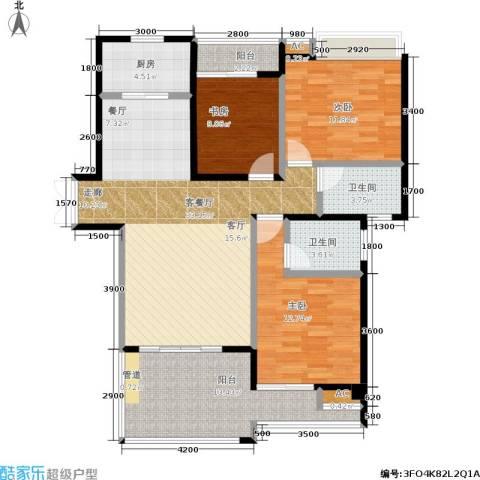 特房五缘尊墅3室1厅2卫1厨134.00㎡户型图
