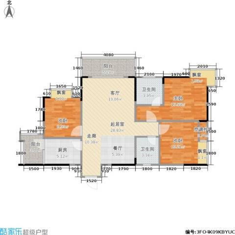 达飞玖隆城3室0厅2卫1厨83.51㎡户型图