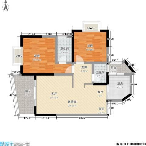 云岭天城2室0厅2卫1厨73.83㎡户型图