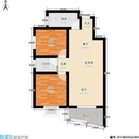 平安家园2室0厅1卫1厨66.00㎡户型图