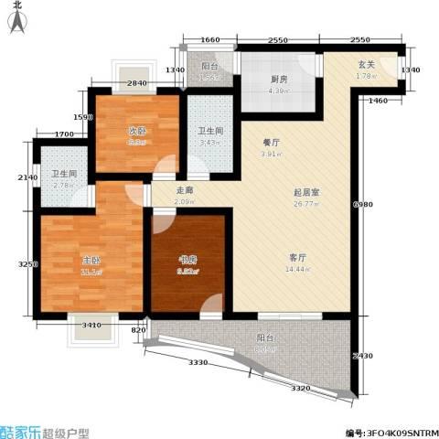 平安家园3室0厅2卫1厨86.00㎡户型图