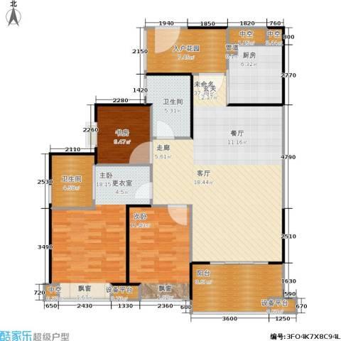 联发滨海名居3室0厅2卫1厨148.00㎡户型图