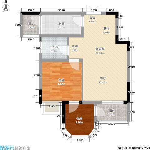 云岭天城2室0厅1卫1厨55.00㎡户型图