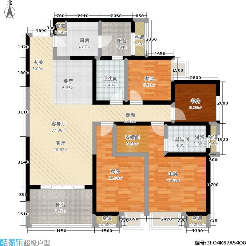 长嘉汇132.00㎡长嘉汇11号楼5号房套内114平米户型4室2厅2卫