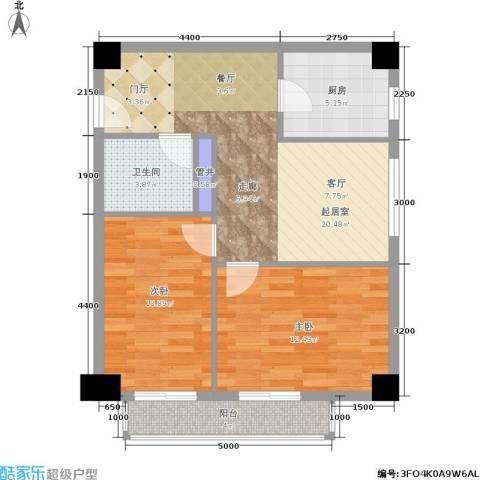远见名苑2室0厅1卫1厨80.00㎡户型图