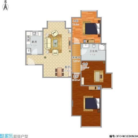 新建小区3室1厅1卫1厨95.54㎡户型图