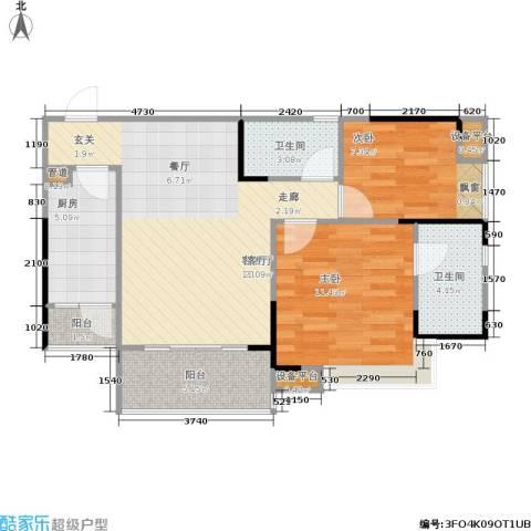 巨成龙湾2室1厅2卫1厨83.00㎡户型图