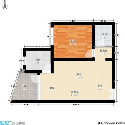 平安家园1室0厅1卫1厨46.00㎡户型图