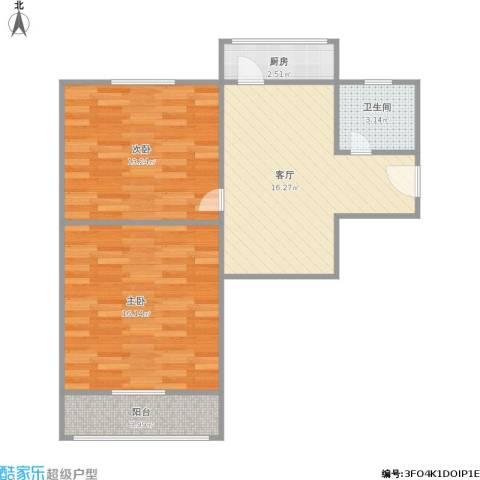 二七南路宿舍2室1厅1卫1厨75.00㎡户型图