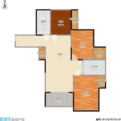 天正天御溪岸3室1厅1卫1厨124.00㎡户型图