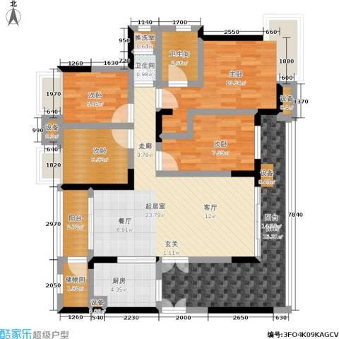 富力现代广场4室0厅2卫1厨103.00㎡户型图