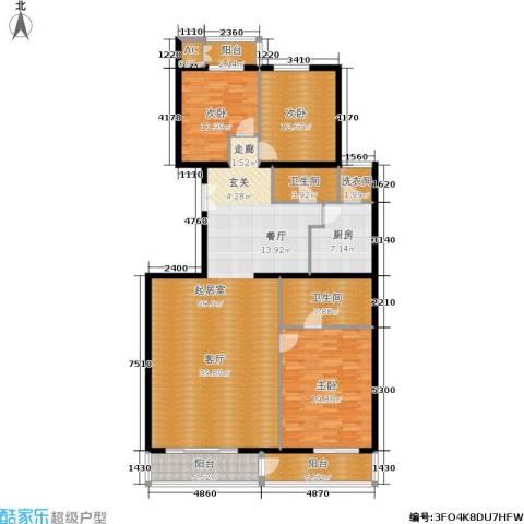 五栋大楼3室0厅2卫1厨176.00㎡户型图