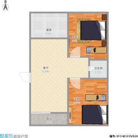 公交花园2室1厅1卫1厨63.00㎡户型图