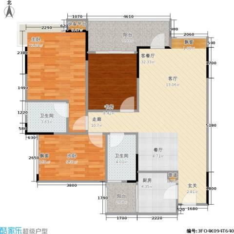 巨成龙湾3室1厅2卫1厨87.00㎡户型图