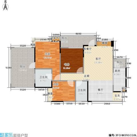 巨成龙湾3室1厅2卫1厨106.00㎡户型图
