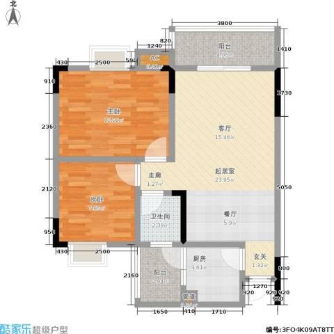 永达缙云峰景2室0厅1卫1厨83.00㎡户型图