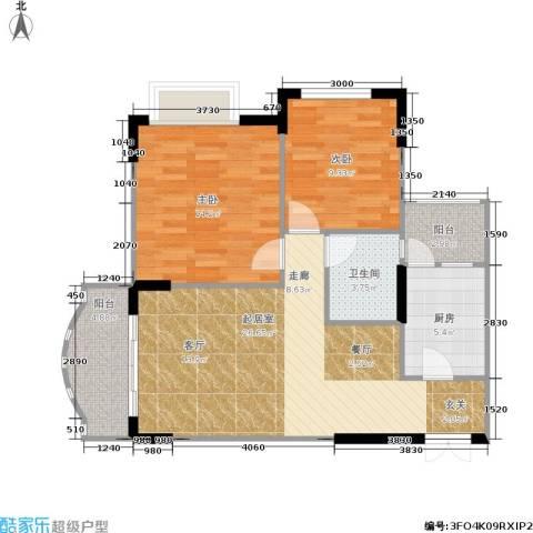东方家园2室0厅1卫1厨67.18㎡户型图
