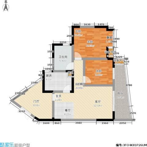 上海城二期2室0厅1卫1厨79.77㎡户型图