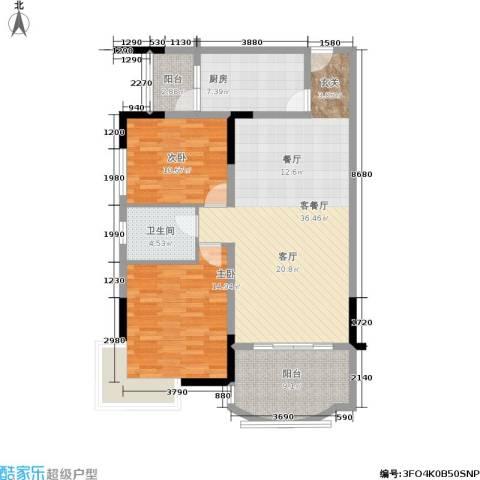 长安华都2室1厅1卫1厨121.00㎡户型图