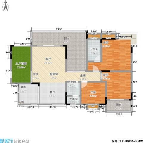 永达缙云峰景3室0厅2卫1厨174.00㎡户型图