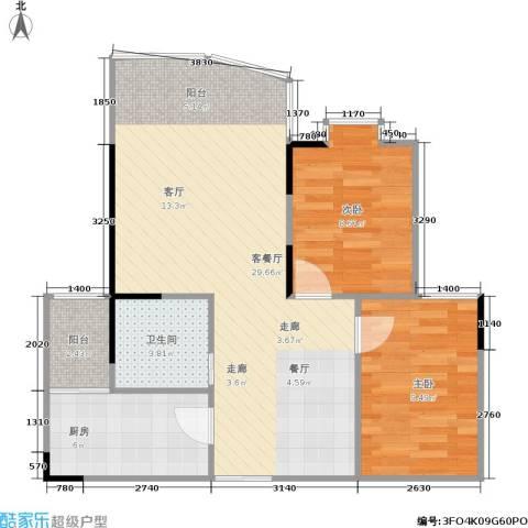 土桥新都大厦2室1厅1卫1厨81.00㎡户型图