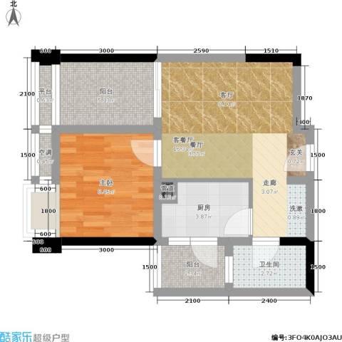 俊峰龙凤云洲1室1厅1卫1厨61.00㎡户型图