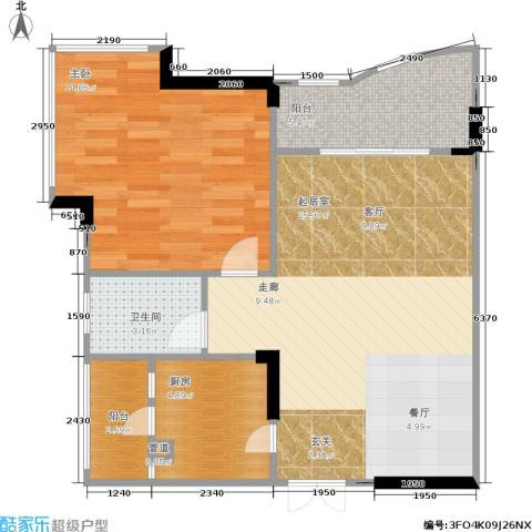 东方家园1室0厅1卫1厨56.39㎡户型图