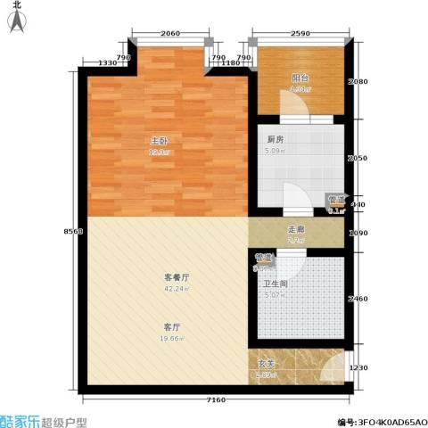 北京上舍1厅1卫1厨65.00㎡户型图
