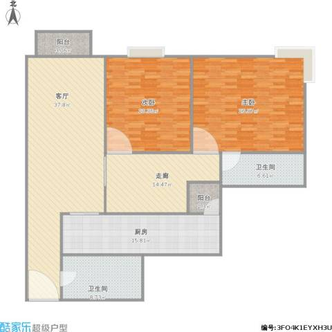 香晖园2室1厅2卫1厨181.00㎡户型图
