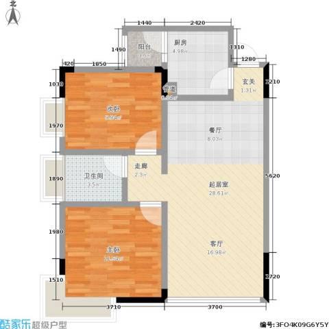 永达缙云峰景2室0厅1卫1厨85.00㎡户型图