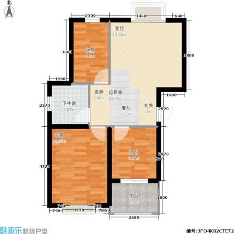 鑫苑城市之家3室0厅1卫0厨69.00㎡户型图