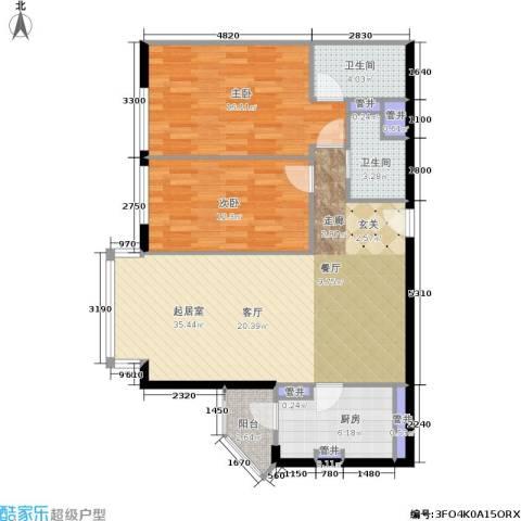 蝶翠华庭2室0厅2卫1厨88.00㎡户型图