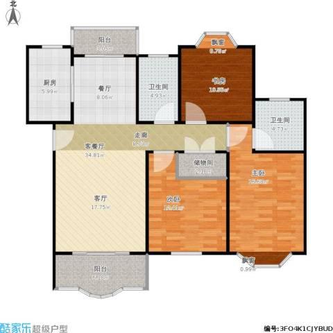 鸿达嘉苑3室1厅2卫1厨138.00㎡户型图