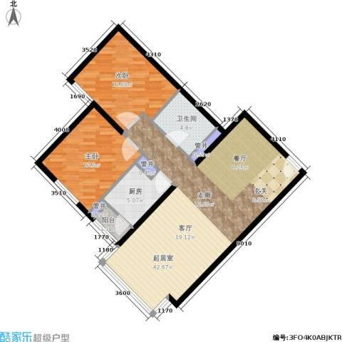 蝶翠华庭2室0厅1卫1厨90.00㎡户型图