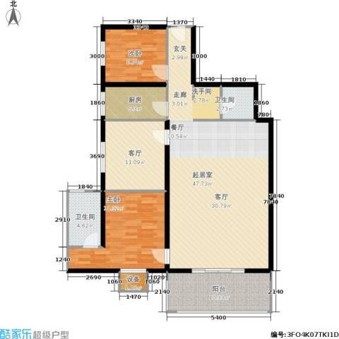 曲江雁唐府邸2室1厅2卫1厨118.20㎡户型图