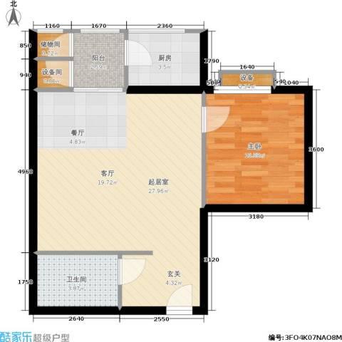 曲江雁唐府邸1室0厅1卫1厨56.48㎡户型图