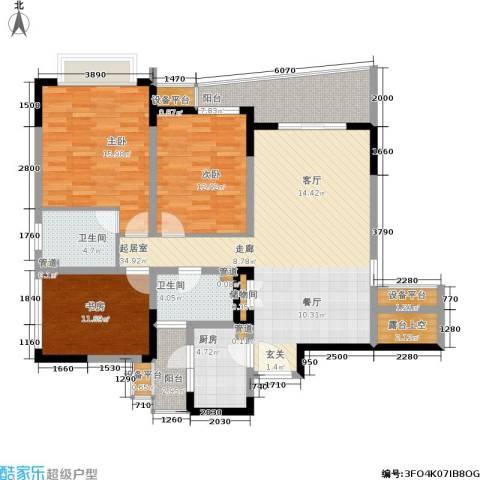 上海城二期3室0厅2卫1厨150.00㎡户型图