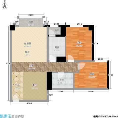 蝶翠华庭2室0厅1卫1厨93.00㎡户型图
