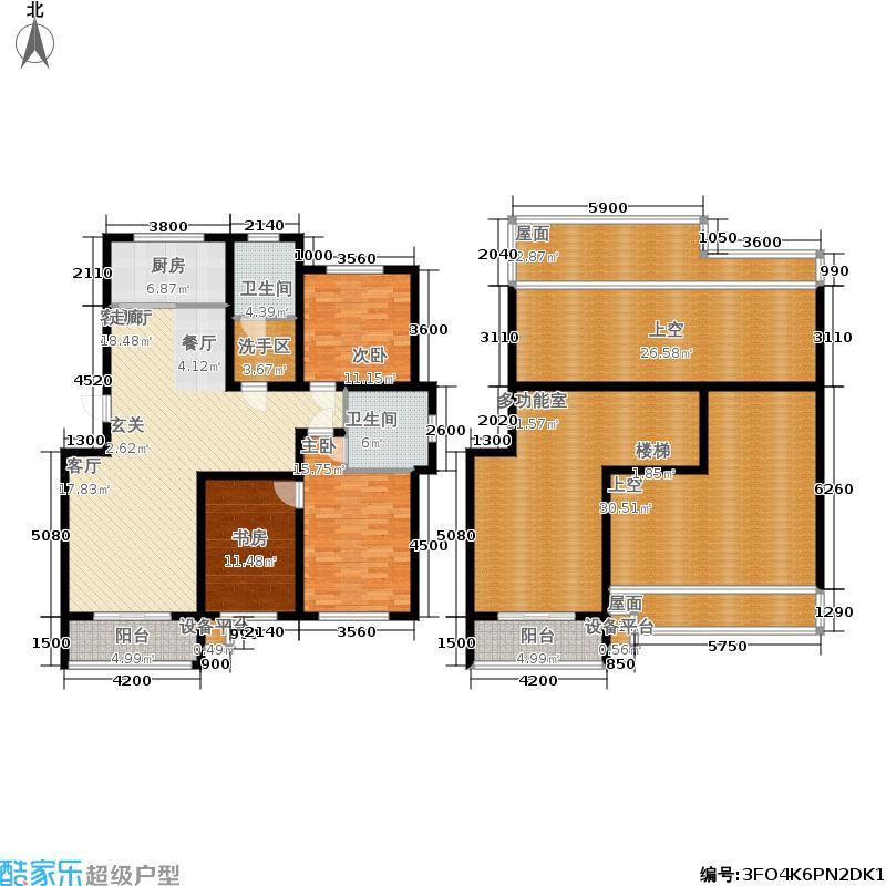 凯旋新城西区户型3室1厅2卫1厨