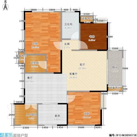 万象时代3室1厅2卫1厨94.53㎡户型图
