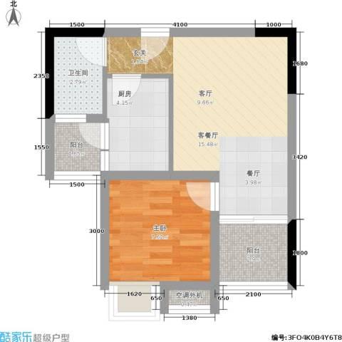 俊峰龙凤云洲1室1厅1卫1厨52.00㎡户型图