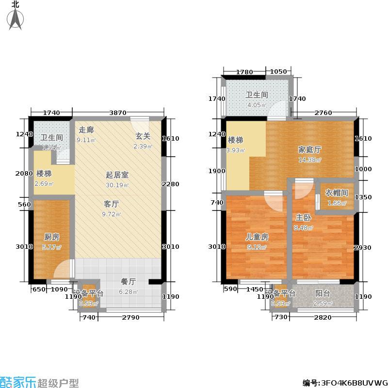 金科米兰大道88.00㎡B1,,8号楼,三室两厅双卫户型3室2厅2卫